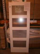 "Brand New Obscure Glazed White Primed Shaker 4 Light Internal Doors 33"" x 78"""