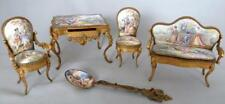 Enameled Miniature Austrian Furniture & Spoon, Lot of 5, Louis French Antique