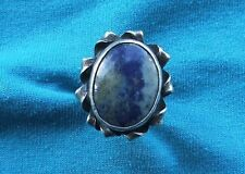 Very Large Handcrafted Sterling Silver Sodalite Ring size N1/2 925 FREE P&P