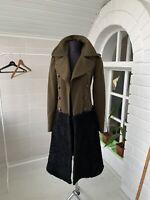 $3995 Women's Burberry Prorsum Green Wool Shearling Fur Military Trench Coat XS