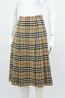 Burberry Vintage Nova Check Wool Pleated Skirt UK 10 / S  Made in England