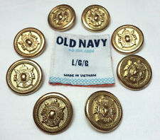 Old Navy Metal Set of 8 Gold Toned Heavy Shank Buttons for Woman's Pea Coat EUC
