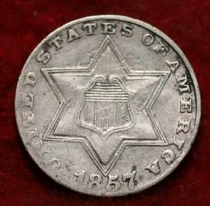1857 Philadelphia Mint Silver Three Cent Coin