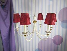 Vintage 6armiger Kronleuchter mit roten Schirmen - Chandelier 50er 60er Jahre