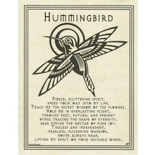 "Hummingbird Prayer Poster 8.5 x 11"" Parchment Print NEW Book of Shadows Page"