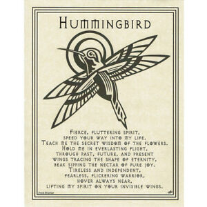 """Hummingbird Prayer Poster 8.5 x 11"""" Parchment Print NEW Book of Shadows Page"""