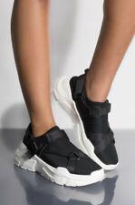Cape Robbin Champion Black Strap Snap Neoprene Slip On Platform Sneakers