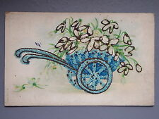 R&L Postcard: Attractive Forget Me Not Flowers Cart, Glitter Design