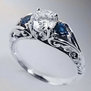 Antique 925 Silver White & Blue Sapphire Ring Proposal Engagement Fine Jewelry