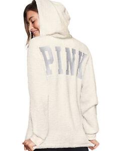 VICTORIA'S SECRET PINK Bling Shimmer Sherpa Quarter Zip Hoodie Pullover White L