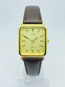 Watch Timex CR 2016 cell gold tone Vintage Men's Wrist Quartz Watch RARE