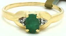 NATURAL 0.67 Carats EMERALD & DIAMONDS RING 10K GOLD *** New With Tag ***