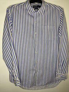 Mens Genuine Polo Ralph Lauren Blue Bonnard 100% Cotton Long Sleeve Shirt Size M