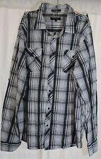 Eighty Eight Platinum Long Sleeve Plaid Gray Epaulette Field Shirt Men's 2XL