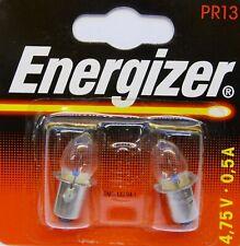 2 x PR13 Energizer Torch / Flashlight Bulbs 4.75v - 0.5A Brand New, Sealed Pack