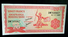 ★★ BURUNDI ● PALINDROME VARIETE ●  BILLET DE 20 FRANCS 2007 P27 ● SUP+ ★★