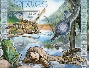 Uganda Reptiles Stamps 2012 MNH Gaboon Viper Snakes Turtles Tortoises 1v S/S