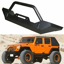 Black Textured Front Bumper W/Winch Plate&D-rings for 2007-2017 Jeep Wrangler JK