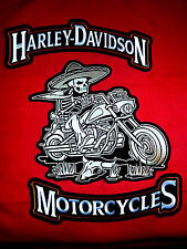 Harley Davidson 12''x3'' rocker Patches,W/ Skeleton Bandio Biker FREE SHIPPING