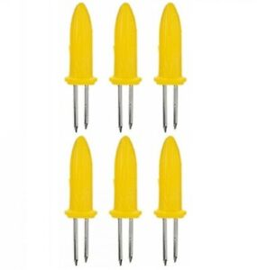 Corn Skewers Sweetcorn On The Cob Holder BBQ Prongs Two Stainless Steel Folks X6
