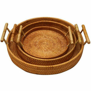 US Rattan Storage Tray Round Basket Rattan Tray Wicker Basket Bread Fruit Food