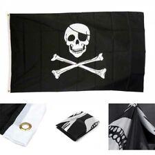 3x5ft Crossbones Jolly Roger Pirate Flag Polyester Skull Decor Grommets Banner
