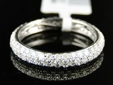 14K WOMENS WHITE GOLD DIAMOND WEDDING BAND PAVE ETERNITY DESIGNER RING 1.27 CT