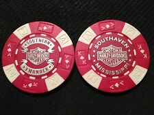 """Harley Poker Chip (NEW DESIGN Red & White) """"Southern Thunder"""" Southaven MS"""
