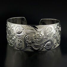 "Native Hummingbirds Cuff Hand-Carved 1"" Wide Sterling"