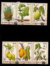 SAO TOME e PRINCIPE 2 bandes de 3 timbres oblitérés  Fruits exotiques  PR229