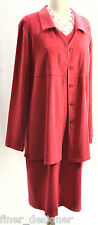 Harve Benard Red moleskin shift dress long blazer 2pc Suit Jacket chic size 8 10