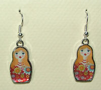 RED FLOWERY RUSSIAN DOLL SILVER PLATED charm EARRINGS HOOK