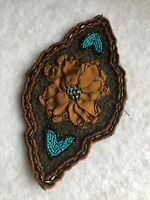 Antique Beaded Victorian Motif 1850s Ribbon Work Metallic Embroidery Vintage Old
