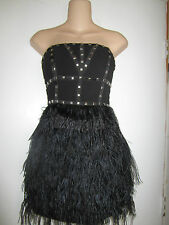 bebe Isis Black Strapless Studded Feather Party Sexy Dress Sz S NWT $198