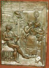 Antique Silver Bronze Victorian Sculpture Relief Plaque Blushing Girls Suitor