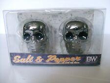 NEW B & W  HALLOWEEN CHROME SKULL HEAD SALT & PEPPER SHAKERS