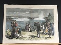 "1877 ""THE SEASON AT NIAGARA FALLS"" HARPER'S WEEKLY HAND-COLORED WOOD ENGRAVING"