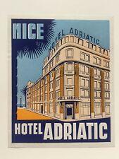 Vintage Hotel Luggage Label -- Hotel Adriatic Nice France