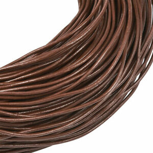 15ft Saddle Brown Genuine Round Cowhide Leather Cord Bracelet String 3 Sizes