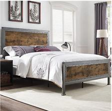 Rustic Metal Bed Queen Size Bed Frame Head Board Footboard Brown Wood
