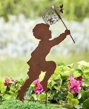 "Children Silhouette Chasing Boy / Girl Yard Garden 20"" Metal Stake Rustic Décor"