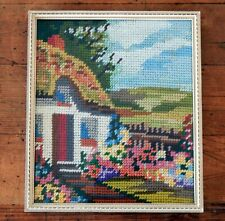 Small Vintage Embroidery Framed Mid Century Cottage Garden