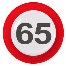 65TH BIRTHDAY PARTY 23cm PAPER PLATES AGE TRAFFIC SIGNS