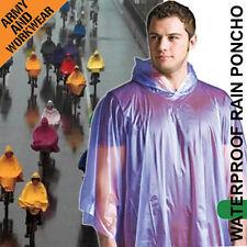 2x Poncho Emergency Impermeable Ligero lluvia SPLASH Capa Chaqueta Con Capucha