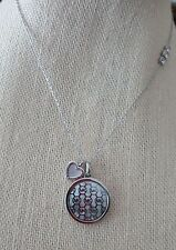 NWT Michael Kors MOP Monogram Silver Tone Necklace/ Heart Charm/ Crystals-$125