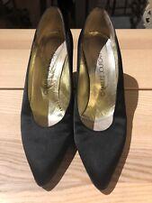Vintage CHARLES JOURDAN Black Satin High Heel Court Shoes US8.5/UK6.5 80s