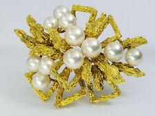 Heavy Vintage 14k Yellow Gold Pearl Brooch Pin