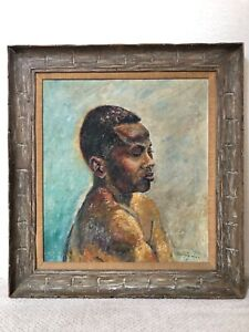 🔥 Antique RARE Mid Century Modern Black African American Oil Painting, 1940!