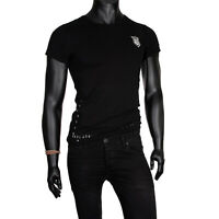 Mens T-shirt Embroidered Short Sleeve Crew Neck Slim Fit Black 100% Cotton Top