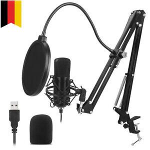 Kondensator Mikrofon Rundfunk set Studio Aufnahme USB Plug-n-Play Komplett Set